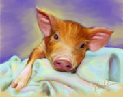 Pig Digital Art - Precious Piggy by Karen Derrico