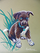 Paws Pastels Framed Prints - Precious Puppy Framed Print by Deborah Willard