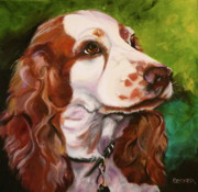 Animal Portrait Greeting Cards Art - Precious Spaniel by Susan A Becker