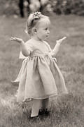 Dresses Prints - Precious Vintage Girl In Dress Print by Tracie Kaska