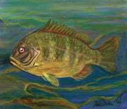 Polish American Painters Paintings - Predatory Fish by Anna Folkartanna Maciejewska-Dyba