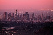 Aerial Posters - Predawn Light On Downtown Los Angeles. Poster by Eric A Norris