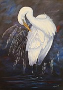 Sea Birds Paintings - Preening by Kathleen Tucker