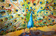Jewel Tones Originals - Preening Peacock by Miriam  Schulman