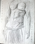 Mens Drawings Prints - Prefer Real-No Red Online Print by Rosanna Eid