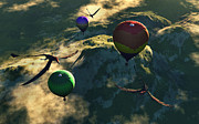 Digitally Generated Image Art - Prehistoric Balloon Rides Take by Mark Stevenson
