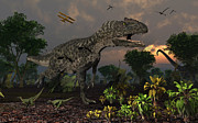 Aggressive Digital Art - Prehistoric Dinosaurs Roam Freely Where by Mark Stevenson