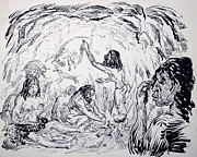 Beards Drawings Prints - Prehistoric Family Print by Bill Joseph  Markowski