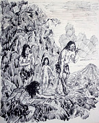 Cavemen Art - Prehistoric Family Hunting by Bill Joseph  Markowski