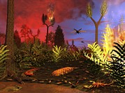 Prehistoric Forest Fire, Artwork Print by Walter Myers