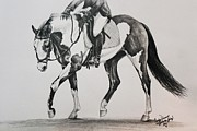 Dressage Drawings - Prelude to Dressage by Carolyn Valcourt