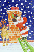Santa Claus Painting Metal Prints - Present from Santa Metal Print by Tony Todd