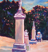 Cemetery Painting Posters - Present Meets Past Poster by Kathy Braud