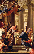 Columns Painting Metal Prints - Presentation in the Temple Metal Print by Simon Vouet