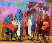 Maasai Painting Originals - Presents for the new born by Martin Bulinya