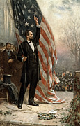 U S Presidents Framed Prints - President Abraham Lincoln - American Flag Framed Print by International  Images