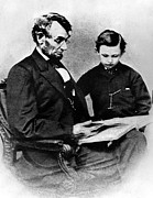 Father And Son Framed Prints - President Abraham Lincoln And Son Framed Print by Everett