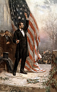 American Flag Framed Prints - President Abraham Lincoln Giving A Speech Framed Print by War Is Hell Store