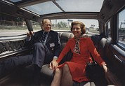 Betty Ford Posters - President And Betty Ford Hold Hands Poster by Everett