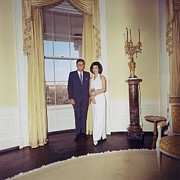 First Lady Metal Prints - President And Jacqueline Kennedy Metal Print by Everett