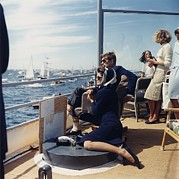 Onassis Framed Prints - President And Jacqueline Kennedy Watch Framed Print by Everett