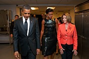 Dresses Metal Prints - President And Michelle Obama And House Metal Print by Everett