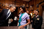 Democrats Photo Framed Prints - President And Michelle Obama Attend Framed Print by Everett