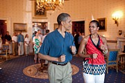 White Slacks Prints - President And Michelle Obama Pretend Print by Everett