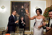 First Ladies Framed Prints - President And Michelle Obama Toast Framed Print by Everett