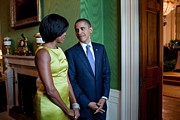 Dresses Metal Prints - President And Michelle Obama Wait Metal Print by Everett