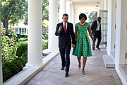 Dresses Metal Prints - President And Michelle Obama Walk Metal Print by Everett