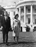 Three Quarter Sleeves Framed Prints - President And Mrs. John F. Kennedy Framed Print by Everett