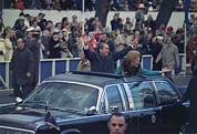First Lady Photo Framed Prints - President And Mrs. Nixon Waving Framed Print by Everett