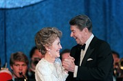 Inaugurations Framed Prints - President And Mrs. Reagan Dance Framed Print by Everett