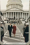 First Ladies Posters - President And Nancy Reagan Boarding Poster by Everett