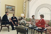 Candid Portraits Framed Prints - President And Nancy Reagan Having Tea Framed Print by Everett