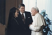 Vatican Posters - President And Nancy Reagan Meeting Poster by Everett
