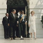First Ladies Framed Prints - President And Nancy Reagan With Michael Framed Print by Everett