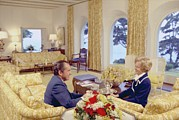 San Clemente Photo Prints - President And Pat Nixon Sitting Print by Everett