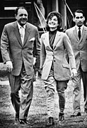 First Lady Photo Framed Prints - President Ayub Khan Left, Of Pakistan Framed Print by Everett