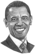Obama Drawings Posters - President Barack Obama by Murphy Art. Elliott Poster by Murphy Elliott
