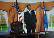 Politics Paintings - President Barack Obama by Chelle Brantley