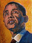 Obama Painting Metal Prints - President Barack Obama Metal Print by David Lloyd Glover