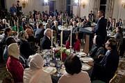 President Barack Obama Delivers Remarks Print by Everett