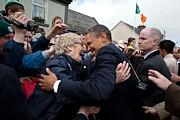 President Barack Obama Greets A Local Print by Everett