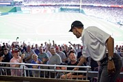 Baseball Fans Prints - President Barack Obama Greets Baseball Print by Everett