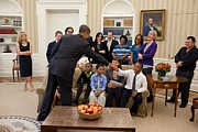 Barack Obama Photo Framed Prints - President Barack Obama Greets Students Framed Print by Everett
