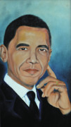 Obama Paintings - President Barack Obama by Harry T Ellis