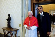 Benedict Framed Prints - President Barack Obama Meets With Pope Framed Print by Everett