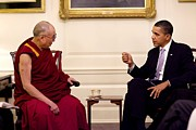 Dalai Lama Framed Prints - President Barack Obama Met With His Framed Print by Everett
